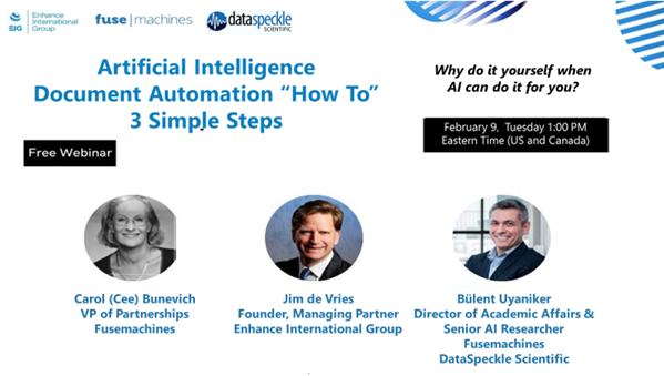 A banner image of AI Document Automation webinars speakers