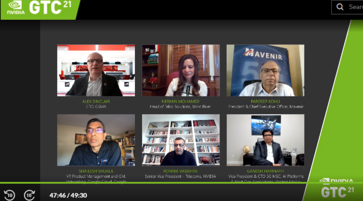An image of video conference showing the panelist of 5 experts during GTC conference.